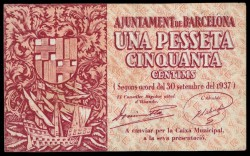 Ayuntamiento de Barcelona 1937 1,50 Pesetas MBC
