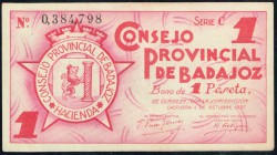 Consejo Provincial de Badajoz 1937 1 Peseta Serie C EBC