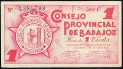 Consejo Provincial de Badajoz 1937 1 Peseta Series C XF