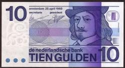Netherlands 10 Gulden Pick 91b (25-4-1968) UNC