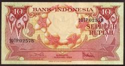 Indonesia 10 Rupias PK 66 (1-1-1.959) S/C