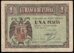 1 Peseta 1938 Burgos. Águila. MBC-
