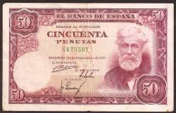 50 Pesetas 1951 Santiago Rusiñol. Pick 141 VF