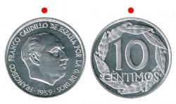 10 Céntimos 1959 Rotated Reverse 180º Proof
