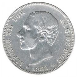2 Ptas Alfonso XII 1882 Sin fecha en la estrella MBC
