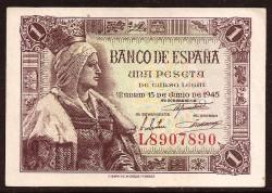 1 Peseta 1945 Isabel La Católica, EBC+