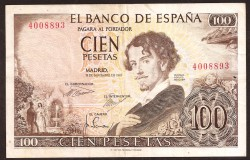 100 Pesetas 1965 Gustavo Adolfo Bécquer MBC- Sin Serie