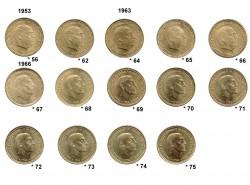 14 1 Peseta coins 1956 - 1975 aUNC