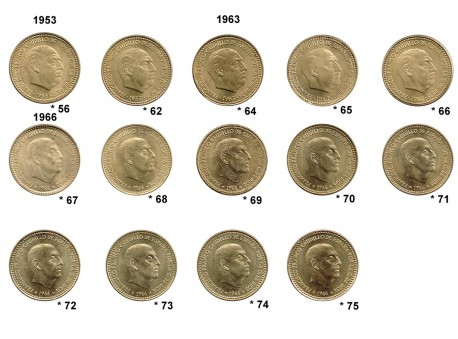 Lote 14 monedas de 1 Peseta Estado Español S/C
