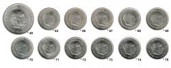 12 5 Pesetas coins 1950 - 1975 aUNC