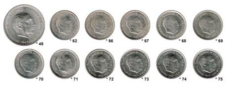 Lote 12 monedas de 5 Pesetas Estado Español S/C