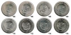 8 25 Pesetas coins 1965 - 1975 UNC