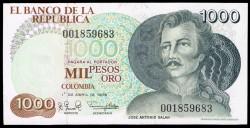 Colombia 1.000 Pesos de oro PK 421a (1-4-1.979) S/C