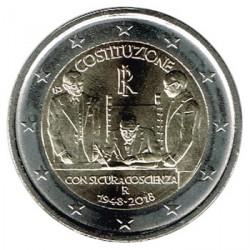 Italia 2018 2 Euros 70 Aniv de la Constitución italiana S/C