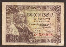 1 Peseta 1945 Isabel La Católica. MBC (Sucio)