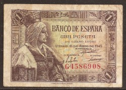 1 Peseta 1945 Pick 128. VF
