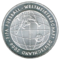 Germany 2006 10 Euro Silver J Football UNC
