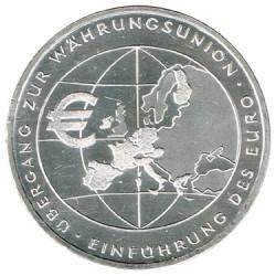 Alemania 2002 10 Euros Plata Ceca F Introducción del Euro S/C-