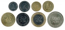 África Central 2006 8 valores (1,2,510,25,50,100 y 500 Francos CFA) S/C
