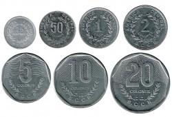 Costa Rica 1983 - 1994 Tira 7 valores (25 y 50 Céntimos. 1,2,5,10 y 20 Colones.) S/C