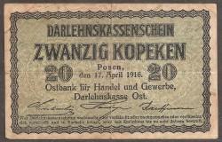 Germany 20 Kopeken Pick R 120 (17-4-1916) aVF