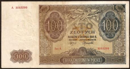 Polonia 100 Zlotych PK 103 (1941) MBC