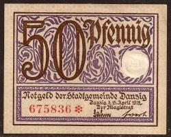 Danzig 50 Pfennig Pick 11 (15-4-1.919) UNC-