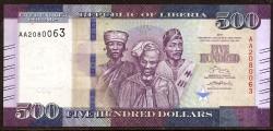 Liberia 500 Dollars PK New (36) (2017) UNC