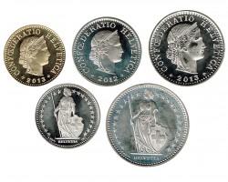 Suiza 2012 - 2013 5 valores (5,10 y 20 Rappen. 1/2 y 1 Franco.) S/C