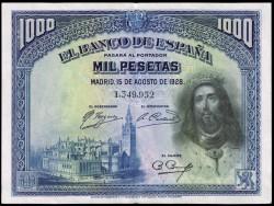 1000 Pesetas 1928 San Fernando EBC-
