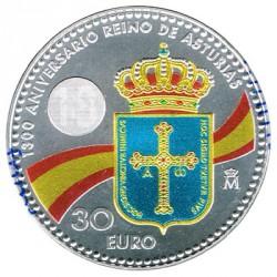 España 2018 30 Euros Plata 1300 Aniv. del Reino de Asturias