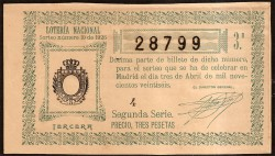 Décimo de Lotería. 1926 Sorteo número 10. 3ª MBC