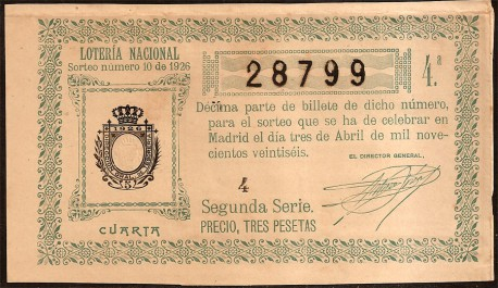Décimo de Lotería. 1926 Sorteo número 10. 4ª MBC