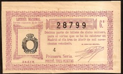 1926 Lotery Draw number 10. 6th aVF