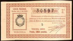 Décimo de Lotería. 1926 Sorteo número 10. 6ª MBC-