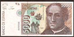5000 Pesetas 1992 Pick 165. UNC