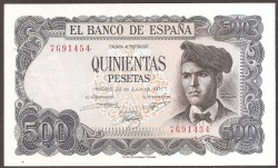 500 Pesetas 1971 Jacinto Verdaguer S/C Sin Serie