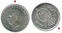 5 Ptas Reverso Girado 1975 * 76 S/C-