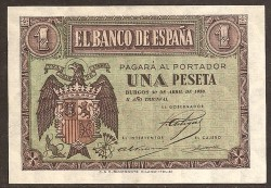 1 Peseta 1938 Burgos. Abril. Águila. S/C. Serie A
