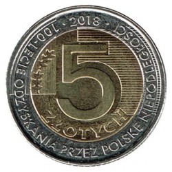 Poland 2018 5 Zlotys (Poland 100 Anniversary Independence) UNC