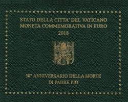 Vaticano 2018 2 Euros 50 Aniv. de la muerte del Padre Pío S/C