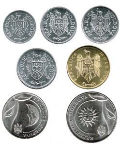 Moldavia 2000 - 2018 7 Coins (1,5,10,25 and 50 Bani, 1 & 2 Leu) UNC
