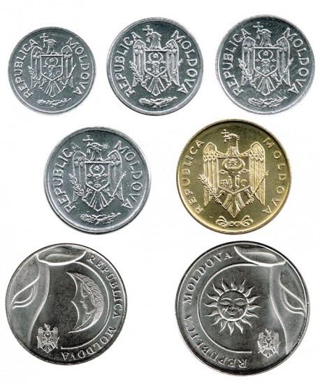Moldavia 2000 - 2018 7 valores (1,5,10,25 y 50 Banis, 1 y 2 Leu) S/C