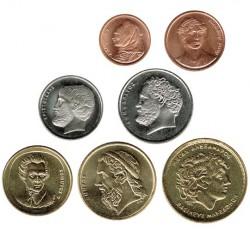 Grecia 2000 7 valores (1,2,5,10,20,50 y 100 Dracmas) S/C