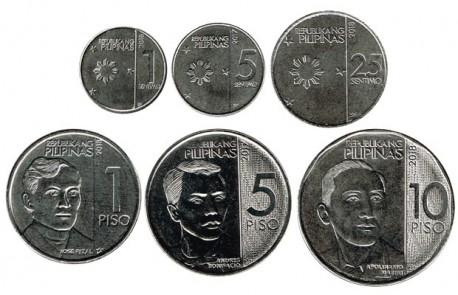 Filipinas 2017 - 2018 6 valores (1,5 y 20 Sentimos. 1,5 y 10 Piso) S/C
