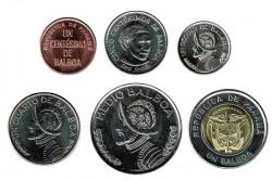 Panama 2017 6 Coins (1,5,10,25 and 50 Centésimos. 1 Balboa) UNC
