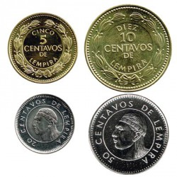 Honduras 1999 - 2006 4 Coins (5,10,20 and 50 Cents) UNC