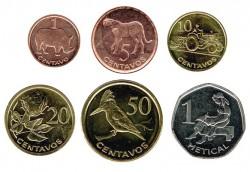 Mozambique 2006 6 valores (1,5,10,20 y 50 Cent. 1,2,5 y 1 Metical) S/C