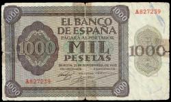 """1000 Pesetas 1936 Burgos """"Alcázar de Toledo"""" Serie A BC"""