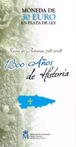 España 2018 Cartera Oficial 30 Euros 1300 Aniv. Reino de Asturias S/C